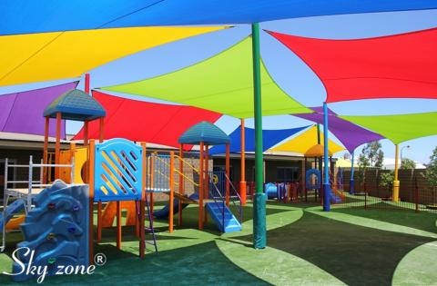 mái che bạt vải cao cấp cho sân chơi trẻ em